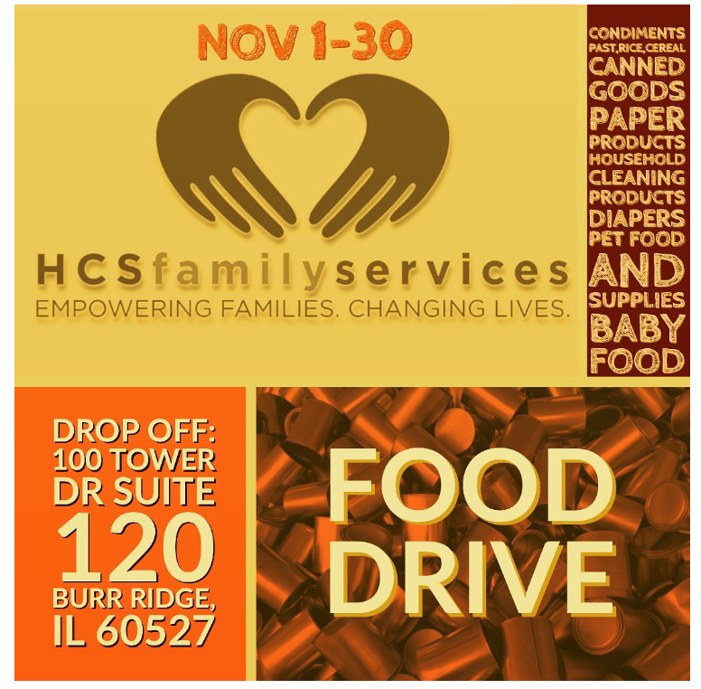 Submit your food drive donations to 100 Tower Dr, Suite 120, Burr Ridge, IL 60527